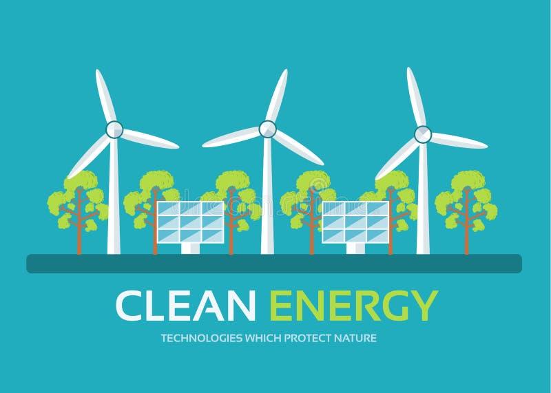 Technologie d'écologie dans le concept plat de fond de conception L'énergie propre d'Eco autour de l'arbre vert pour protègent la illustration stock