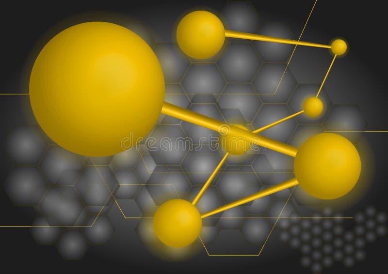 Technologie d'ADN d'or Fond de gradient du monde numérique illustration libre de droits