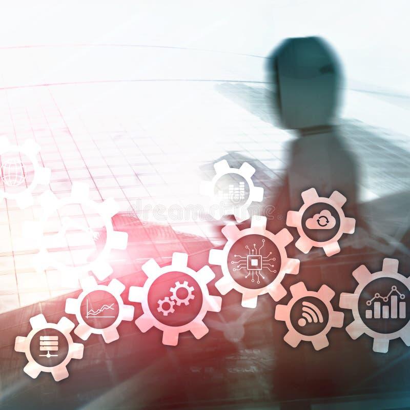 Technologie d'automation et concept futé d'industrie sur le fond abstrait brouillé Vitesses et icônes photographie stock