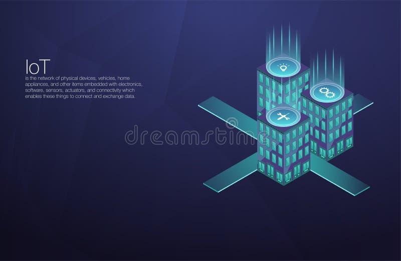 Technologie d'avenir de plate-forme d'IoT Connexion et contrôle à la maison futés avec des dispositifs par le réseau à la maison  illustration de vecteur