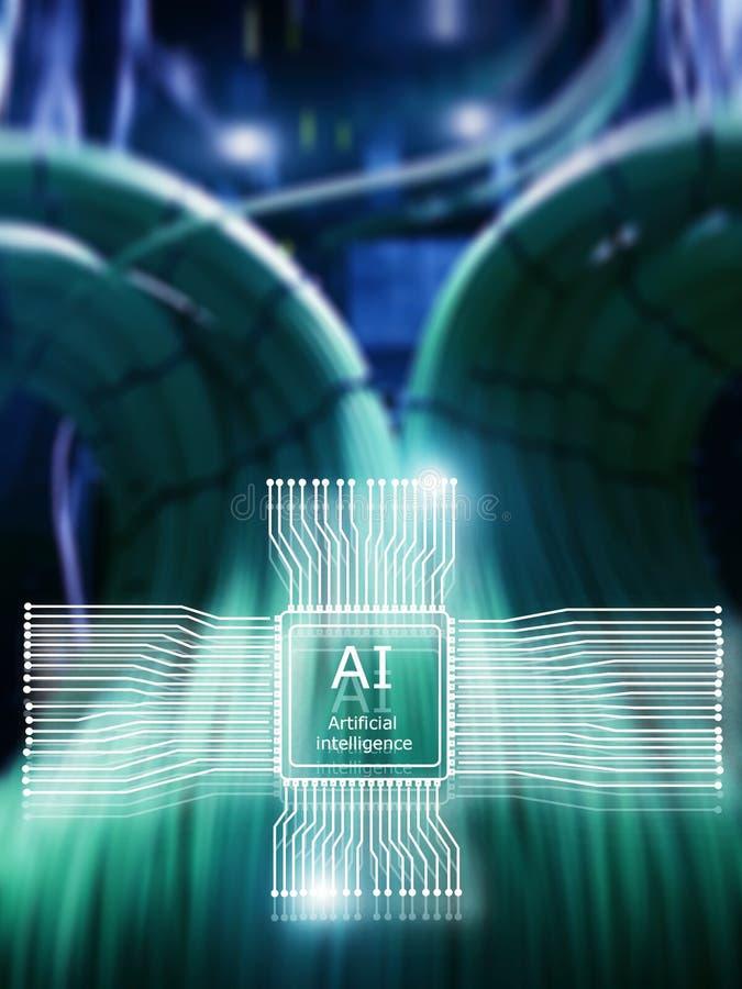 Technologie d'avenir d'intelligence artificielle Concept du r?seau de transmission Fond moderne brouillé de datacenter illustration stock