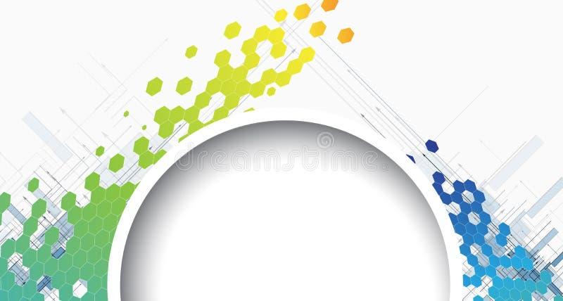 Technologie d'hexagone et fond ronds abstraits de l'information illustration de vecteur