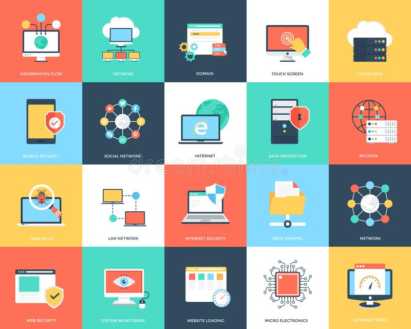 Technologie d'Internet et icônes plates de sécurité réglées illustration libre de droits