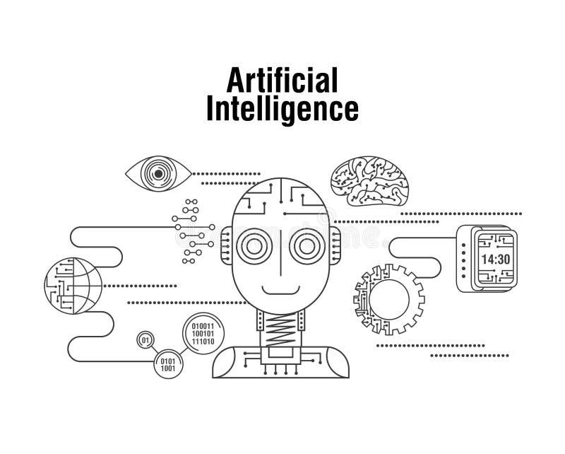 Technologie d'oeil de vitesse de globe d'intelligence artificielle illustration de vecteur