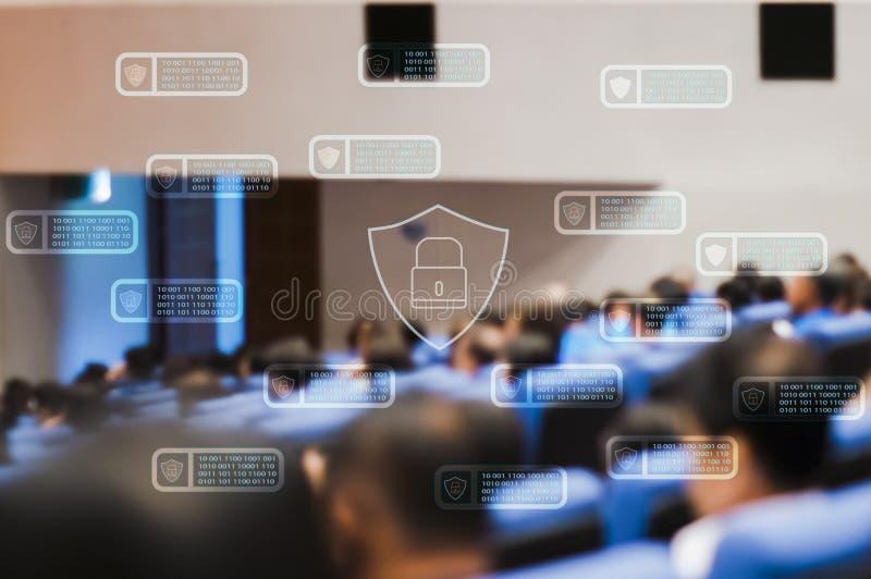 Technologie de Blockchain avec des personnes de sécurité de cyber d'icône rencontrant le groupe de hall de convention, progrès te image stock