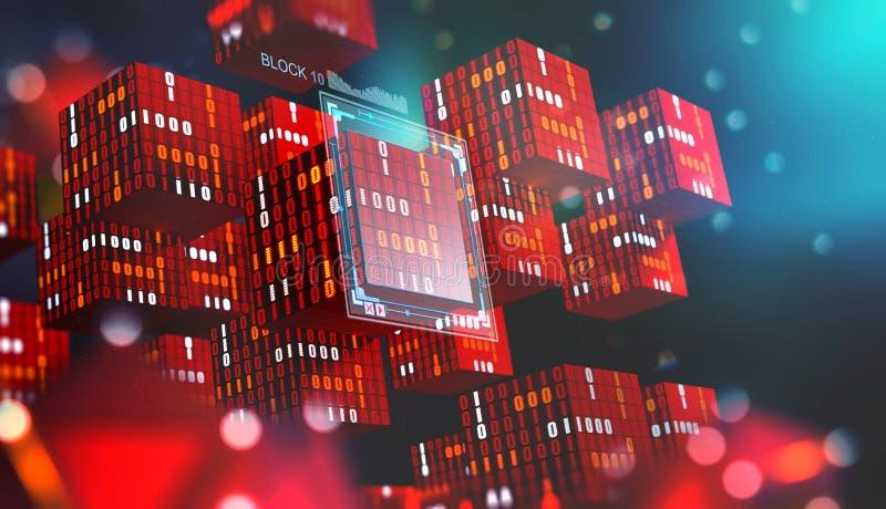 Technologie de Blockchain Blocs de l'information dans l'espace numérique Réseau global décentralisé Protection des données de cyb illustration libre de droits