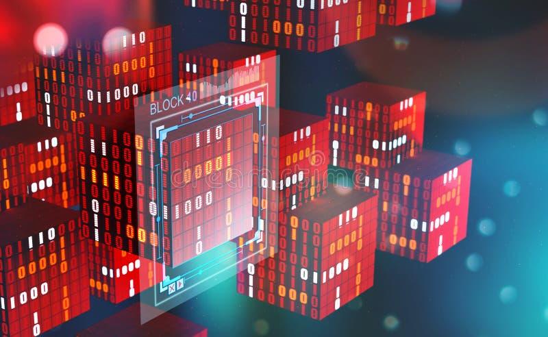 Technologie de Blockchain Blocs de l'information dans l'espace numérique Réseau global décentralisé Protection des données de cyb illustration stock