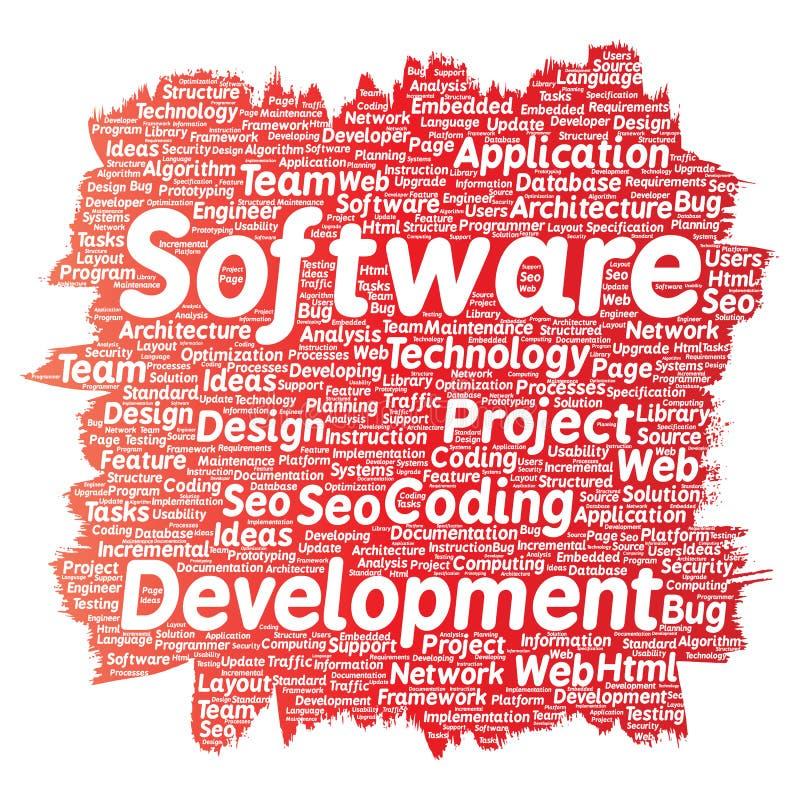 Technologie de codage de projet de développement de logiciel de vecteur illustration libre de droits