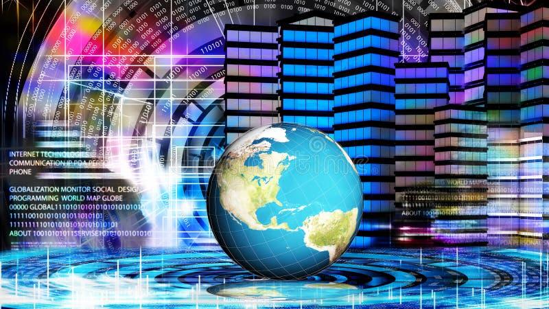 Technologie de connexion de mondialisation et communi numérique images stock