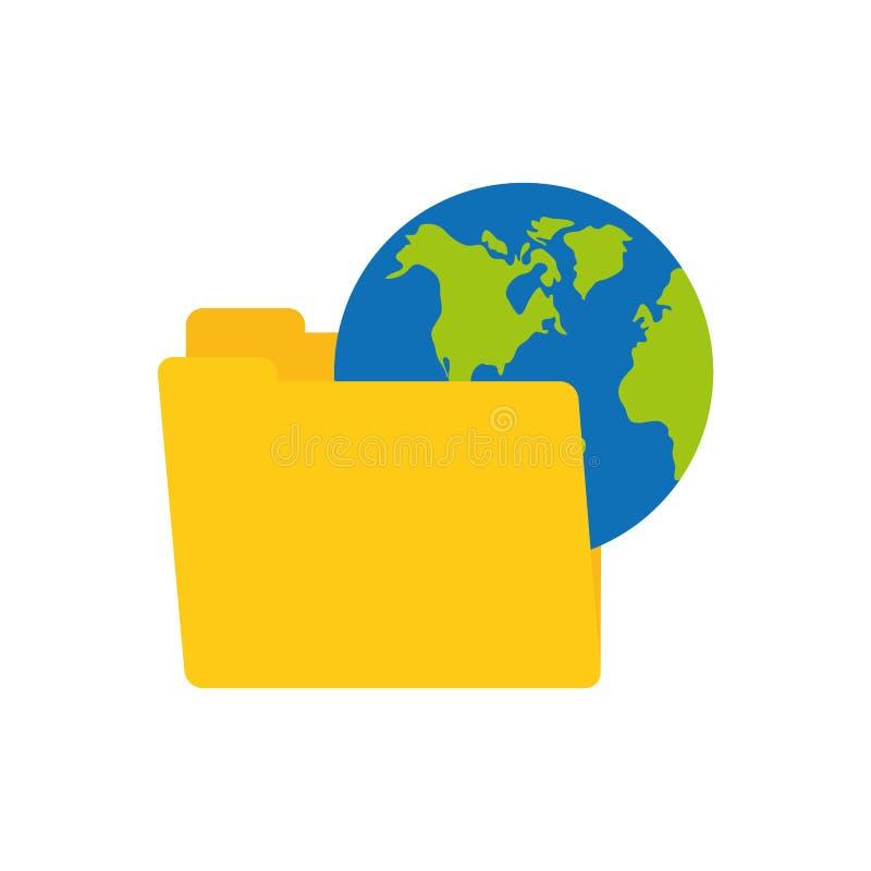 technologie de connexion de terre du monde de données de dossier illustration libre de droits