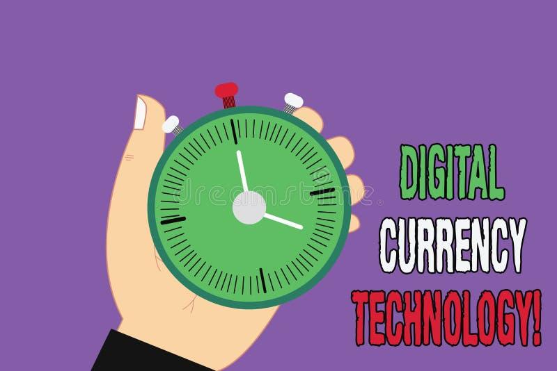 Technologie de devise de Digital des textes d'écriture Concept signifiant la devise disponible sous numérique ou le formulaire él illustration stock