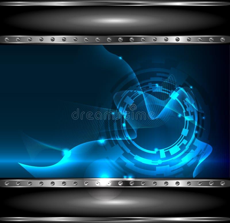 Technologie de fond avec le drapeau métallique, vecto illustration de vecteur