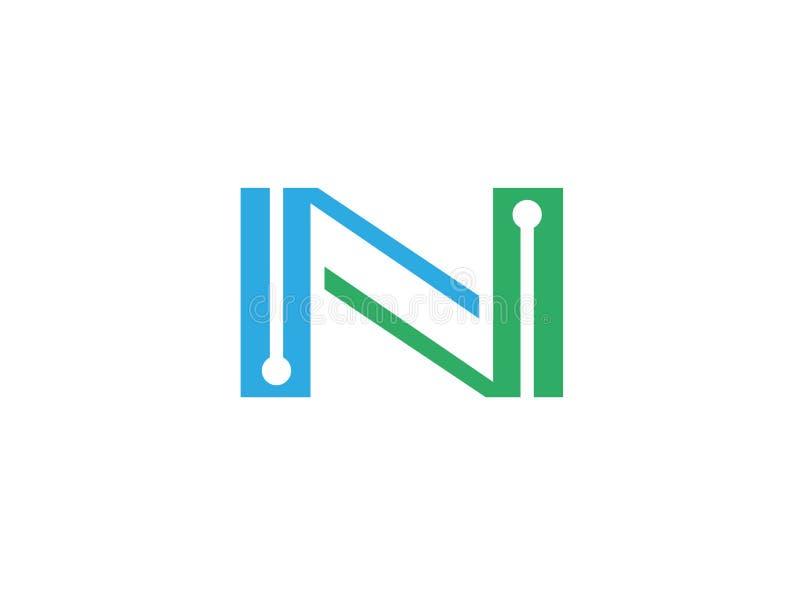 Technologie de l'alphabet N pour l'illustration de conception de logo illustration libre de droits