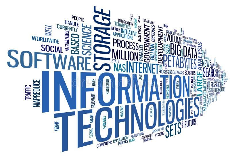 Technologie de l'information en nuage de tags illustration de vecteur