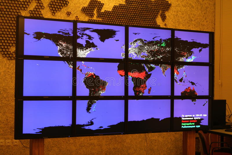Technologie de multimédia, mur visuel photographie stock libre de droits