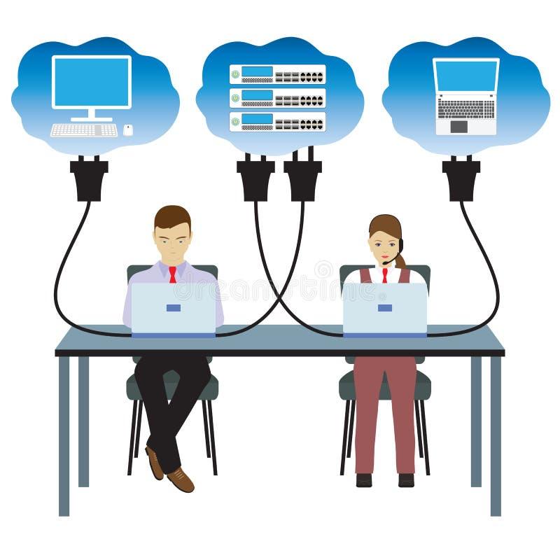 Technologie de nuage de réseau Illustration illustration stock