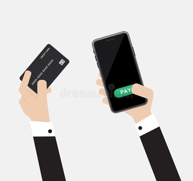 Technologie de passage de paiement avec l'affichage noir en ligne de mobile ou de smartphone et moquerie verte de bouton de salai illustration stock