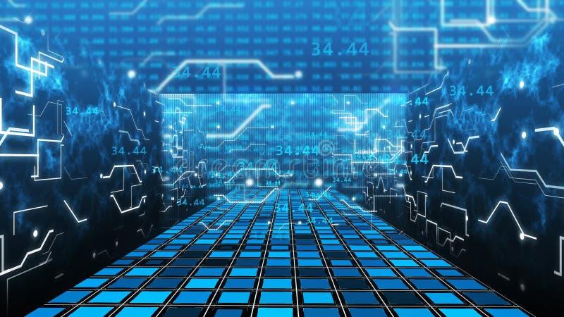 Technologie de pièce de Matrix de grille de calculateur numérique illustration de vecteur