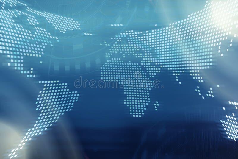 technologie de planète de téléphone de la terre de code binaire de fond Carte du monde de Digital avec les icônes o de technologi illustration libre de droits