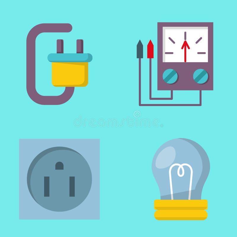 Technologie de prise de tension d'électricien d'illustration de vecteur de batterie d'icônes de puissance de l'électricité d'éner illustration de vecteur
