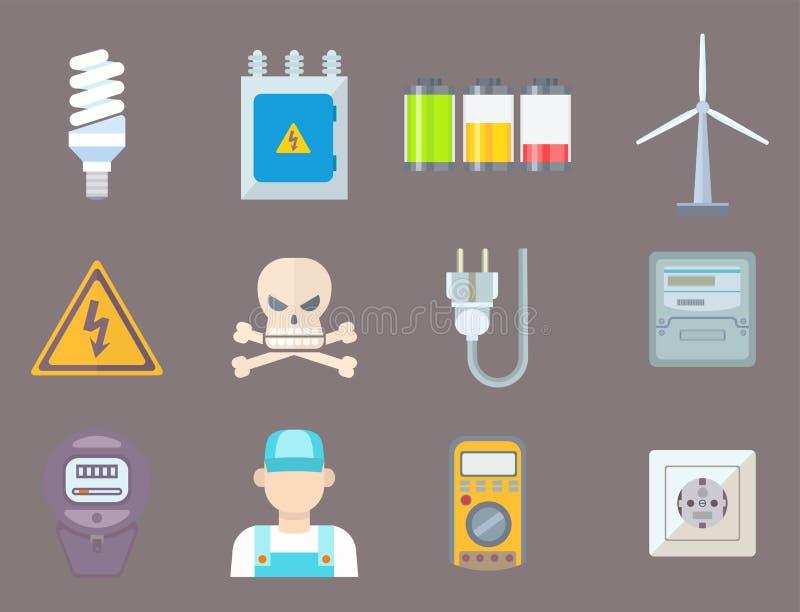 Technologie de prise de tension d'électricien d'illustration de vecteur de batterie d'icônes de puissance de l'électricité d'éner illustration libre de droits