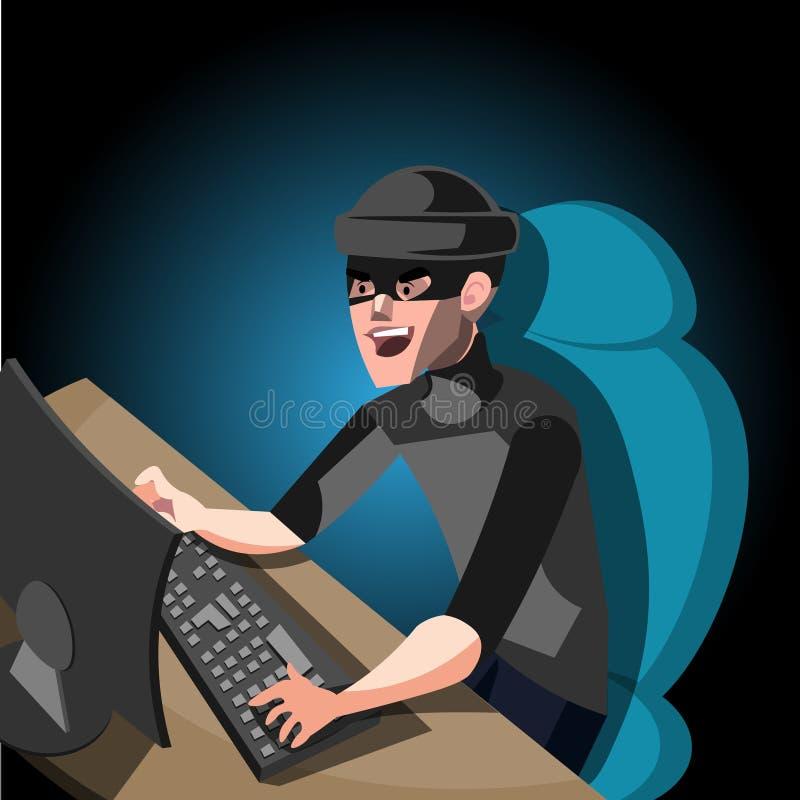 Technologie de protection de l'ordinateur d'Internet de pirate informatique illustration libre de droits