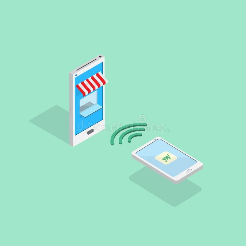 Technologie de Smartphone faisant des emplettes en ligne par le mobile photo libre de droits