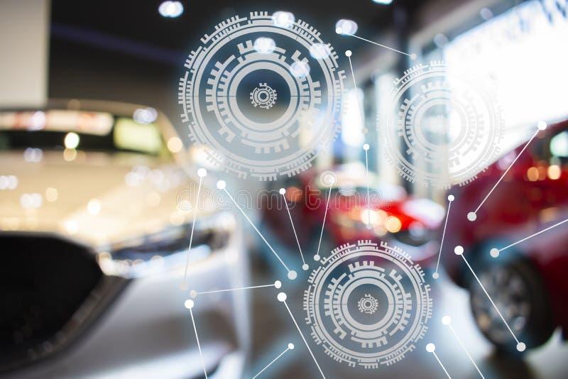 Technologie de véhicule moderne de voiture nouvelle dans la salle d'exposition trouble illustration stock