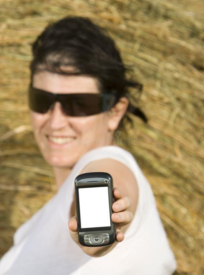 Technologie des communications de jeune femme images stock