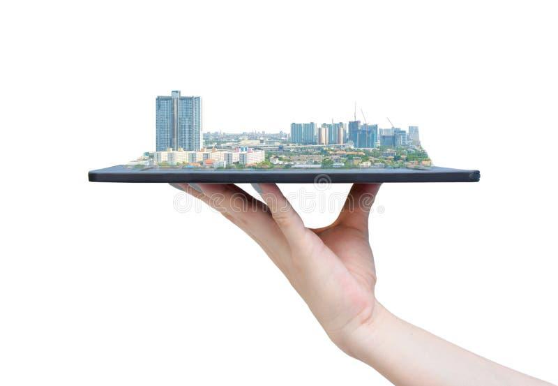 Technologie des communications sociale de médias de ville en ligne de société sur le blanc de comprimé photographie stock