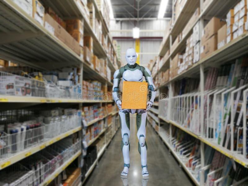 Technologie des intelligenten Roboters hält Kastenarbeiten anstelle der Menschen lizenzfreies stockfoto