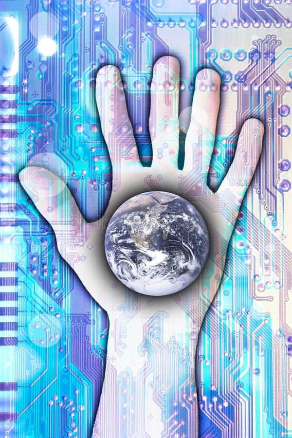 Technologie die de wereld bereikt stock afbeeldingen