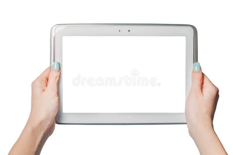 Technologie die, online, meisje die een tablet houden winkelen royalty-vrije stock foto