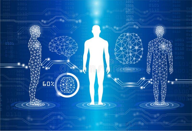 Technologie en experimentele wetenschapsconcept, technologie en medi stock illustratie