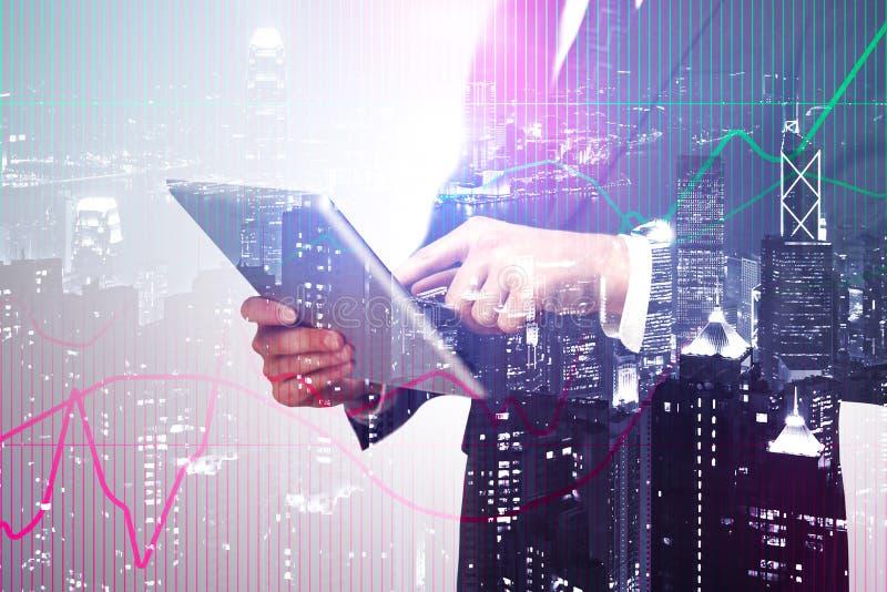 Technologie en financieel de groeiconcept royalty-vrije stock foto