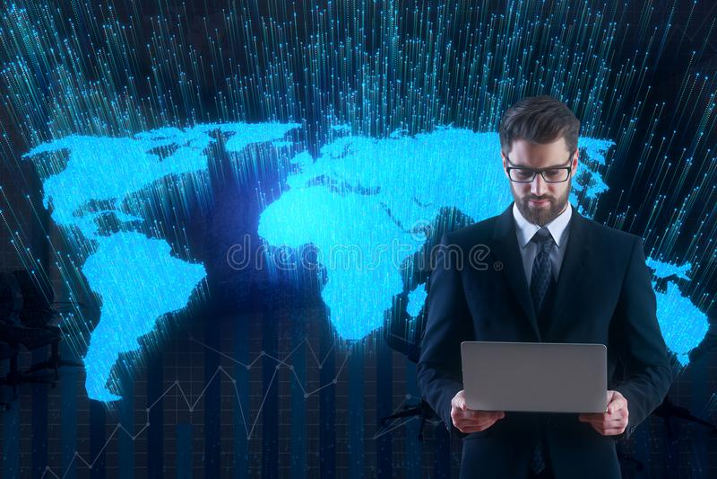 Technologie en globaal bedrijfsconcept vector illustratie