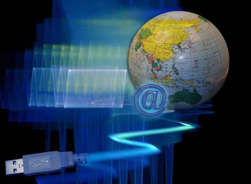 Technologie en snelle aanslutingen wereldwijd royalty-vrije illustratie