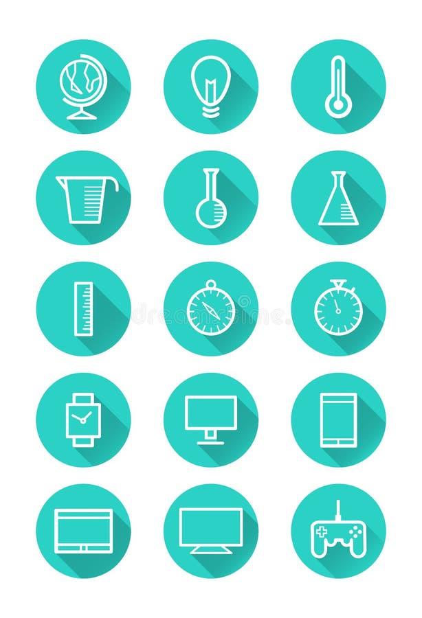 Download Technologie En Wetenschapspictogrammen Stock Illustratie - Illustratie bestaande uit maatregel, kompas: 39115919