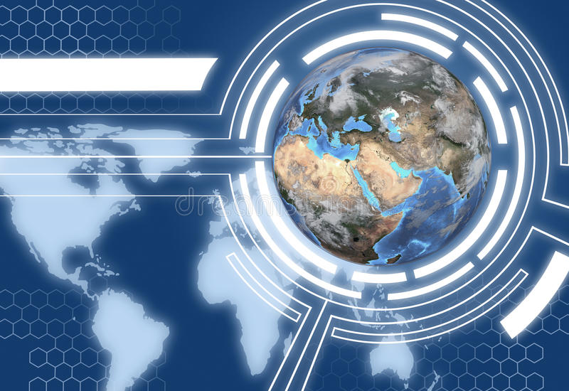 Technologie-Erde-Kugel-Kommunikations-Auslegung vektor abbildung