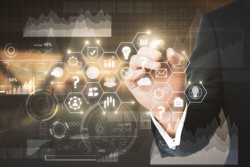 Technologie, financiën en communicatie concept royalty-vrije stock afbeeldingen