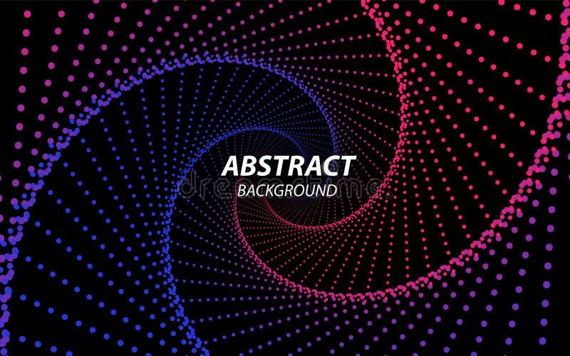 Technologie Fractal mit Wellen-Linien und Punkten Futuristische Art Gro?e Datenstrom-Sichtbarmachung Abstrakter Radialtunnel lizenzfreie abbildung