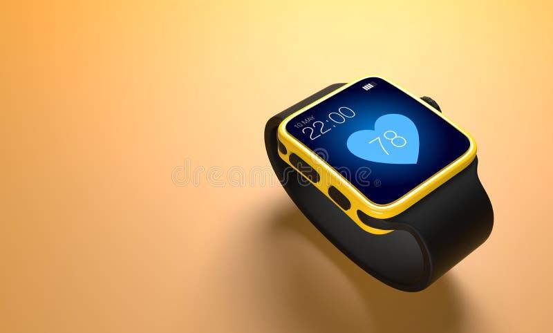 Technologie futée de montre avec des applications de traqueur de forme physique de sport illustration libre de droits