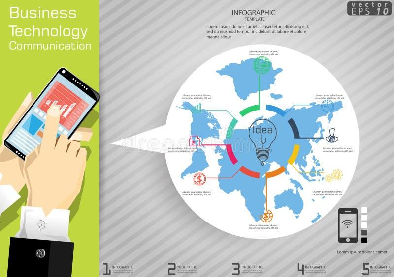 Technologie-Geschäftskommunikation über Weltmoderner Idee und Konzept Vector Illustration Infographic-Schablone mit Ikone lizenzfreie abbildung