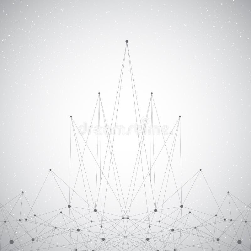 Technologie grijze molecule en mededeling als achtergrond Verbonden lijnen met puntenillustratie stock foto's