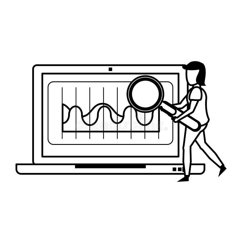Technologie-Hardware-Karikatur des Laptops bewegliche in Schwarzweiss vektor abbildung