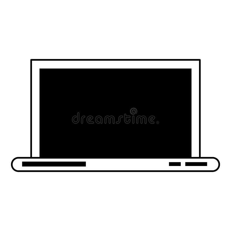 Technologie-Hardware-Karikatur des Laptops bewegliche in Schwarzweiss lizenzfreie abbildung