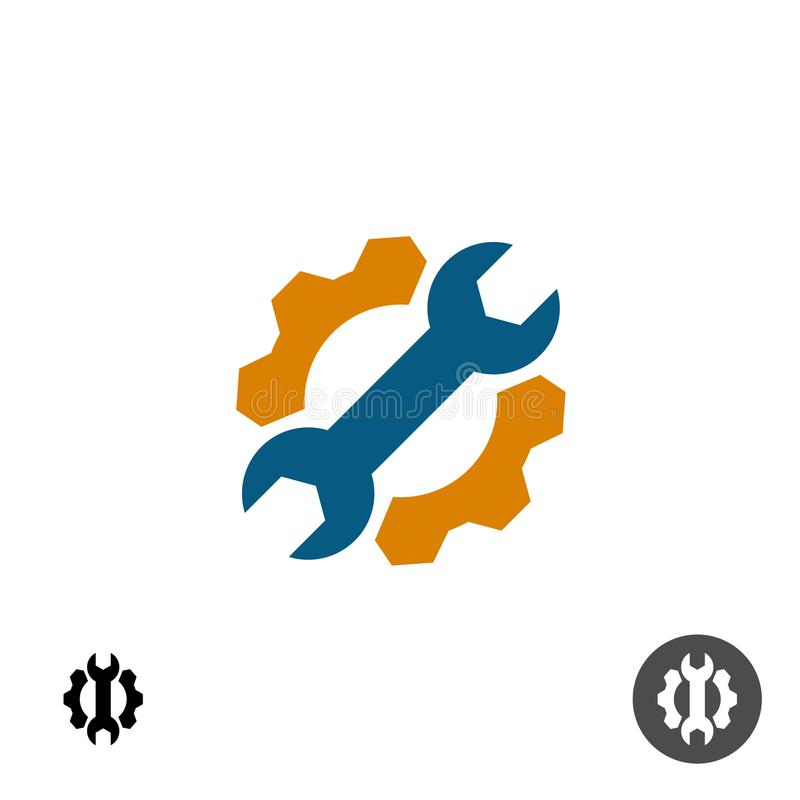 Technologie-het embleem van de de dienstreparatie met toestel en moersleutel vector illustratie