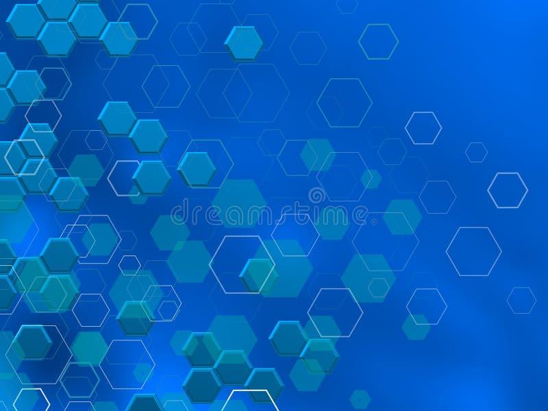 TECHNOLOGIE Hexagone in differnts shaphes ÃœBER BLAUEM Hintergrund vektor abbildung