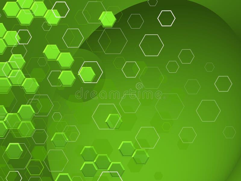 TECHNOLOGIE Hexagone in differnts shaphes ÃœBER GRÃœN-Hintergrund vektor abbildung