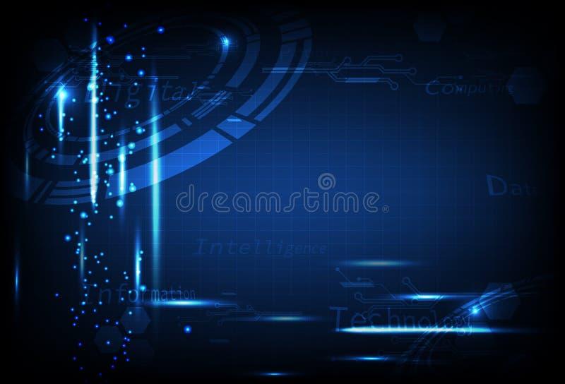 Technologie, illustration bleue de vecteur de fond d'abrégé sur concept de données futuristes de circuit illustration de vecteur
